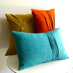 Pleated linen pillows