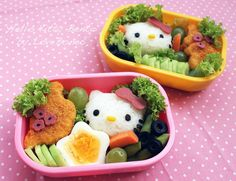 I love Bento boxes! Even better when they are Hello Kitty ! Kawaii Bento, Cute Bento, Cute Food, Yummy Food, Japanese Food Art, Boite A Lunch, Bento Recipes, Bento Box Lunch, Lunch Boxes