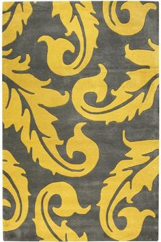 Home Decorators Collection Acanthus Grey/Yellow 3 ft. 6 in. x 5 ft. 6 in. Area Rug 1512810270 - The Home Depot Plush Area Rugs, Wool Area Rugs, Mellow Yellow, Grey Yellow, Magic Carpet, Modern Area Rugs, Acanthus, Grey And Gold, Rugs In Living Room