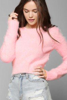 Clueless Generation Fuzzy Crop Cute Sweater in Pink