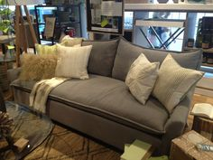 West elm couch! Love the fabric and cover!