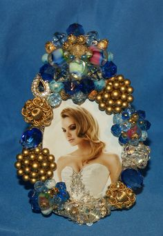 Royal Blues and Gold Jeweled Picture Frame OOAK ♥ by KatsCollection, $79.99