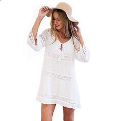 Female Sexy Hollow 3/4 Sleeve Lace #BohoWhiteBeachDress Casual Loose Short Mini Dress