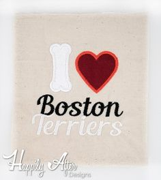 Bone Heart Boston Terrier Applique Embroidery Design