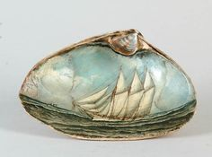miniature oil painting of ship on the ocean inside a shell (seashore, beach, art) Seashell Painting, Seashell Art, Seashell Crafts, Beach Crafts, Stone Painting, Painting On Shells, Objets Antiques, Painted Shells, Oyster Shells