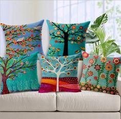 Árvores de Flores dos desenhos animados Fronha de Almofada de Linho de Algodão decorativo aves Decorativo Travesseiro Almofada/capa para almofada/cojines