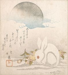 Taisosai Hokushu (Japanese, 18th–19th century). Moon; White Hare in Snow, probably 1819. The Metropolitan Museum of Art, New York. H. O. Havemeyer Collection, Bequest of Mrs. H. O. Havemeyer, 1929 (JP2167)