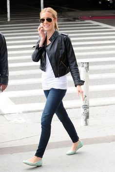 Black leather jacket, white tee, skinny jeans, and a pop of color flats.