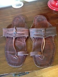 Vintage Ethnic Leather Mens Sandals Shoes by SophiesChoiceVintage, $19.95