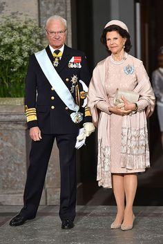 Prince Oscar of Sweden's christening: King Carl Gustaf and Queen Silvia. Princess Victoria Of Sweden, Princess Estelle, Princess Sofia, Queen Of Sweden, Prince Frederick, Swedish Royalty, Prince Daniel, Queen Silvia, Royal Queen