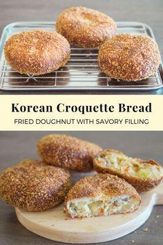 Korean Croquette Bread (Fried doughnut with savory filling) Korean Bread Recipe, Korean Beef Recipes, Korean Food, Bread Recipes, Baking Recipes, Cake Recipes, Fried Doughnut Recipe, Stir Fry Kimchi, Croquettes Recipe