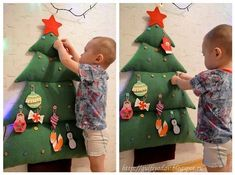 ideas for christmas tree ideas for kids plays Christmas Activities, Christmas Crafts For Kids, Christmas Baby, Simple Christmas, Handmade Christmas, Holiday Crafts, Christmas Holidays, Felt Christmas Decorations, Christmas Ornaments