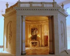 Mulvany & Rogers, This dollhouse brings to life the palace of Versailles, which was known to be haunted by the supernatural, and the detailing in the dollhouses features all that has been left over in the place. The chandeliers and the wall murals have all been recreated with the minutest of details including the gold-work involved.