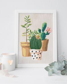 Cactus print cactus art succulent print by PrintableLifeStyle art garden indoor plants Succulent Wall Art, Cactus Wall Art, Succulent Planters, Succulents Garden, Cactus House Plants, Cactus Cactus, Indoor Cactus, Watercolor Cactus, Watercolor Art