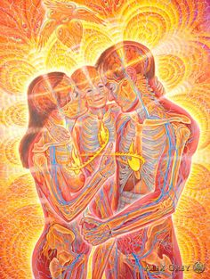 Love Circuit - 2008, oil on wood, 40 x 60 in. Alex Grey