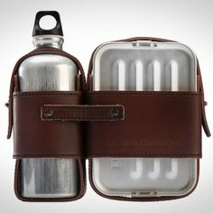 LEATHER STRAPPED LUNCH BOX SET