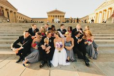 """Wedding party on """"The Rocky Steps""""! I actually saw another wedding party during my stay in Philly (May-June :) Wedding Pinterest, Pinterest Board, Rocky Steps, Wedding Photos, Wedding Day, Museum Wedding, Philadelphia Wedding, Bridesmaid Dresses, Wedding Dresses"""