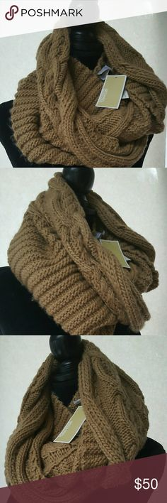 Michael Kors Hand Knit Large Infinity Scarf Michael Kors Hand Knit Large Infinity Scarf (Camel) Hand Knit pattern  Infinity loop design  100% acrylic  Hand wash cold Imported 62w x15L MICHAEL Michael Kors Other
