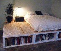 Bookshelf bed platform. I find the exposed particle board excessively ugly, though. I am picturing this with a warming terra cotta tile, at the top, or perhaps a beach pebble mosaic, and maybe a sheep skin rug.