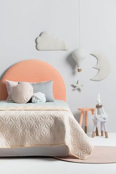 I am so love with this stunning room by 💕 That Headboard! 😱 You can find the gorgeous Cam Cam quilted goodies and moon and star wall hanging on our virtual shelves now. Diy Kids Furniture, Bed Furniture, Baby Bedroom, Girls Bedroom, Pink Bedding, Kids Room Design, Upholstered Beds, Kid Spaces, Kid Beds