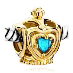 Golden Crown Blue Aquamarine Swarovski Crystal Heart Beads Pandora Chamilia Compatible   Charmsstory.com #crown #crystal #pandora #charm