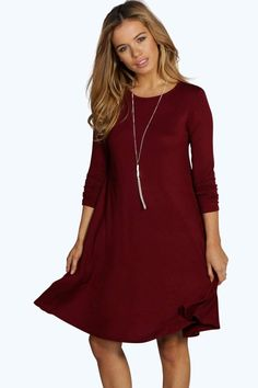 Petite April Scoop Neck Long Sleeve Swing Dress