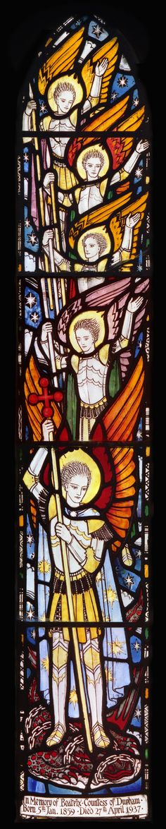 https://flic.kr/p/dK3994 | St. Mary & St. Michael, Doddington (near Wooler), Northumberland: north ailse window | One of a pair of windows (one light per bay) in the north ailse of Doddington church (Northumberland), this one installed c.1945 as a memorial to Violette Eliza Brewer. Designed and executed by Joseph Edward Nuttgens (1892-1982), the rather toy-like appearance was conditioned by the small scale of the openings (barely six inches wide). Nuttgens nevertheless contrived to pack a…