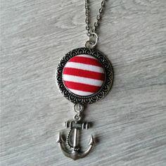 Nyaklánc textil medállal -piros csíkos Pendant Necklace, Personalized Items, Jewelry, Jewlery, Jewerly, Schmuck, Jewels, Jewelery, Drop Necklace