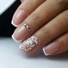 Nails Design, Nail Art Designs, French Nails, Love Nails, White Nails, Manicures, Wedding Nails, Nail Ideas, Hair Beauty