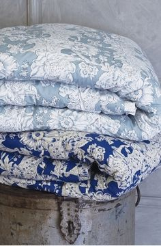 blue and white coverlets..