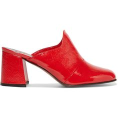 Trademark Frances patent textured-leather mules (27,935 MKD) ❤ liked on Polyvore featuring shoes, red patent leather shoes, slip on shoes, high heel mule shoes, red high heel shoes and high heeled footwear
