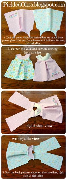"Pickled Okra by Charlie: Free Pattern for an 18"" American Girl Doll Reversible Dress...could also be used for baby, just adjust size"