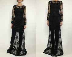 Vintage 90s Black Sheer Floral Illusion Lace Backless Supermodel Dress S