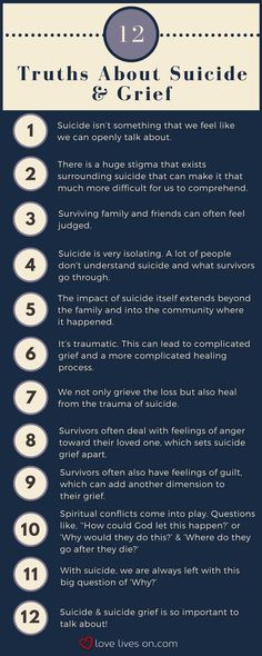 Psychology : Infographic: 12 Truths About Suicide & Grief