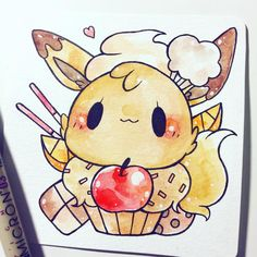 dessert eevee! #inktober adopted by @fromkino the rest of the halloween eevees are gone, but if you're interested in a pokemon commission, click my shop link in bio!! *u*