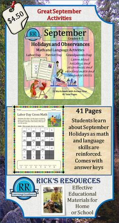 http://www.teacherspayteachers.com/Product/SEPTEMBER-Math-Language-Activities-Grades-45-41-Pages-746659  A great collection of math and language activities surrounding the September holiday themes.  Comes with complete answer keys.  Great for grades 4/5 or advanced 3rd graders.  41 pages.