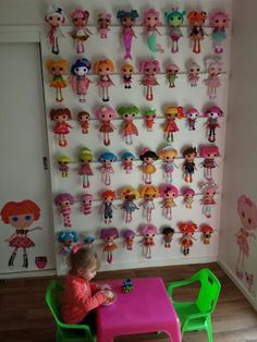 Finally got the wall of lala done, so a lot are off the floor now! #Lalaloopsy #Storage