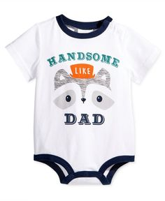 """Epic cuteness for baby boy abounds on this First Impressions bodysuit, crafted from soft, machine-washable cotton. 