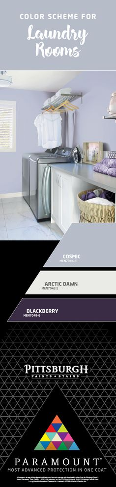 Work Color Collections - Paramount Paint - High-End Interior Paint Laundry Room Colors, Laundry Room Design, Landry Room, Basement Laundry, Interior Paint, Soft Purple, House Colors, Kew Gardens, Colorful Interiors