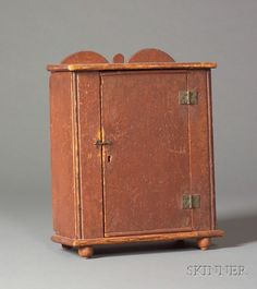 Small Red-Painted Pine Cabinet, America, c. 1800