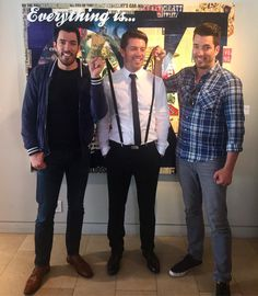 Younger twin brothers, Drew & Jonathan Scott giving big bro JD Scott, a hard time about his leftover wardrobe from last nights TIFF2016 parties.