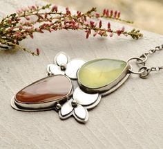Silver Prehnite Imperial Jasper Necklace Hand by EONDesign on Etsy