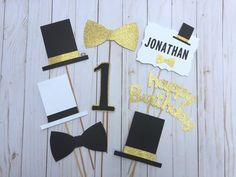 Boys 1st Birthday Party Ideas, Little Man Birthday, Gold First Birthday, Baby Boy Birthday, Birthday Table Decorations, Birthday Centerpieces, First Birthdays, Top Hats, Bowties