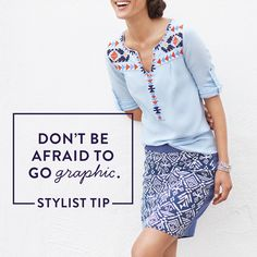 Dare to pair prints! Try a graphic skirt—like this Southwestern style—with a thematically similar top in the same color family. Want more style tips & tricks? Sign up for Stitch Fix to get fashion advice from our savvy Stylists.