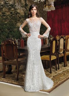 9c9d74ce6f Cosmobella Collection - Wedding Dress Style 7934 : Exquisite, intricate  lace adorns the natural illusion Bateau neckline, back and long bell  sleeves of this ...