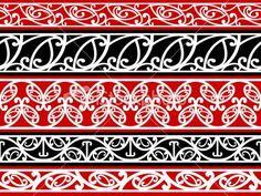 Kowhaiwhai Pattern (Maori pattern)  two arrows pointing opposite ways, black, white and red.
