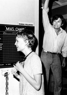 Mia Farrow and Roman Polanski on the set of Rosemary's baby