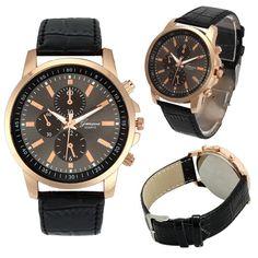 2016 Vrouwen Mannen Horloges Casual Genève Kunstleer Quartz Analoge reloj hombre kol saati Goed uitziende JUNI 22