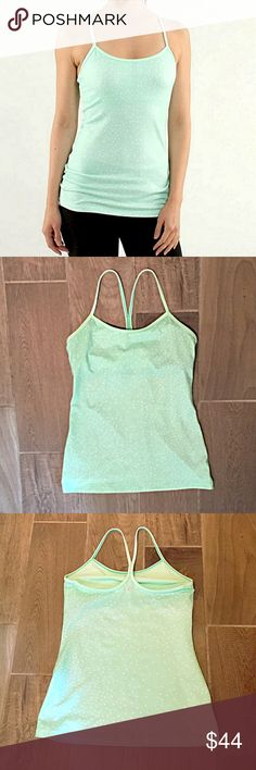 "❣BOGO 1/2 off❣🆕Lululemon Power Y mint dot tank 8 NWOT, flawless. Color is called ""Petite Dot Fresh Teal."" Moisture wicking Luon Light with COOLMAX material. Built in shelf bra lined with COOLMAX to wick away moisture. Size 8.  Approx 27"" long & 17"" flat across bust. ❤PLEASE know your Lululemon size.  ❣Ask me how to BOGO HALF price! ✖️I do NOT MODEL✖️ 🔴Bundle to save! 🔴NO TRADES. 🔴REASONABLE offers welcome via offer button. lululemon athletica Tops Tank Tops"