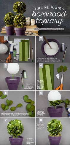 """Boxwood Topiary """"Create a gorgeous set of boxwood topiaries using foam balls & our extra fine double sided crepe paper, which includes four shades of green"""
